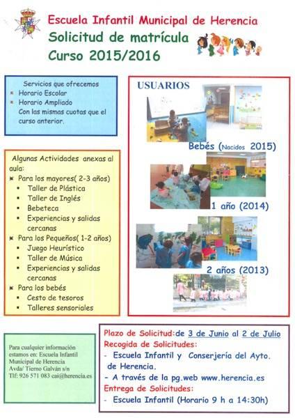 Cartel Matricula Escuela Infantil 2015 2016 - Abierto el plazo de matriculación para la Escuela Infantil de Herencia