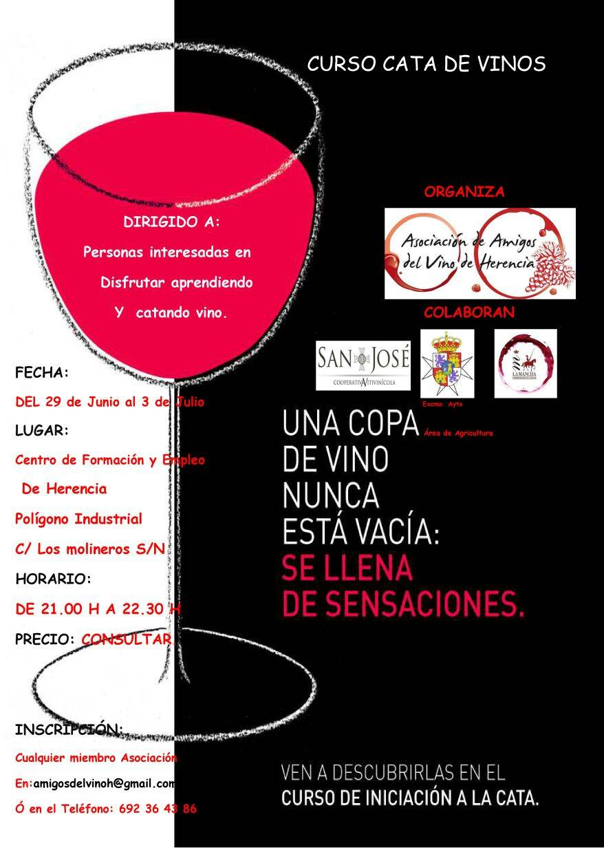 Cartel cuso de cata de vinos - La asociación de amigos del vino prepara un curso de cata de vinos