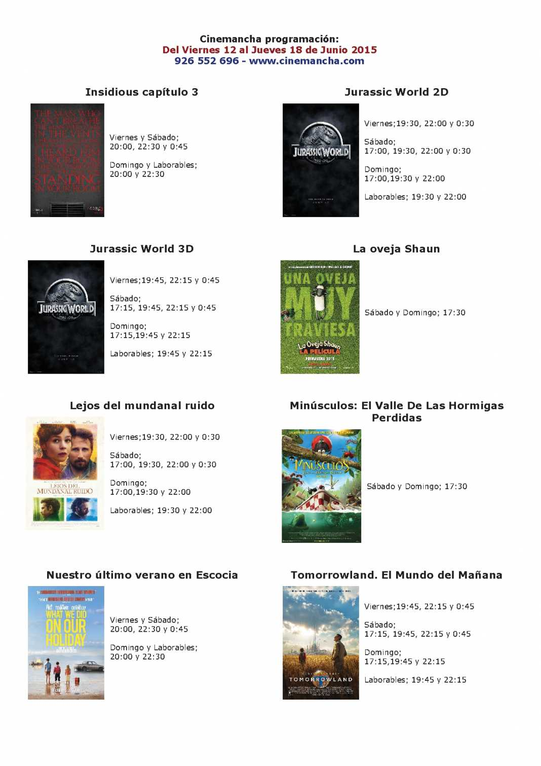 Cartelera de Cinemancha del 12 al 18 de junio 1