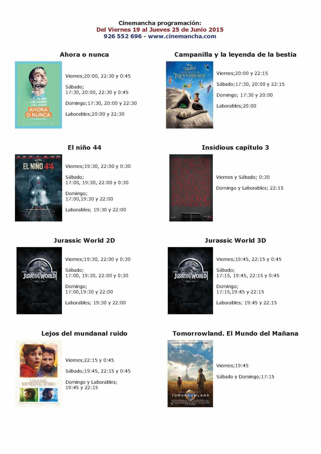 Cartelera de Cinemancha del 19 al 25 de junio 1