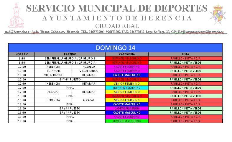 partidos domingo - VII Torneo de Balonmano Base Villa de Herencia