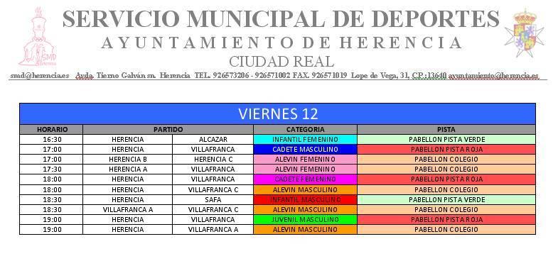 partidos viernes - VII Torneo de Balonmano Base Villa de Herencia