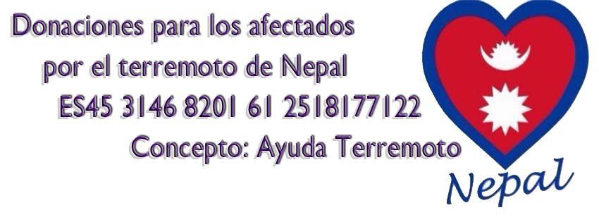 Número de cuenta de la ONG Nepal Sonríe para ayudar a los afectados por el terremoto de Nepal