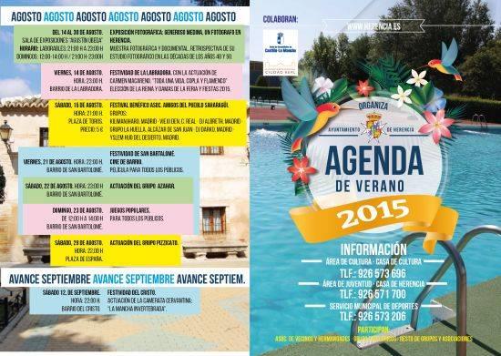 Agenda cultural Herencia 1 - De Julio a Septiembre, refrescantes sesiones culturales en Herencia