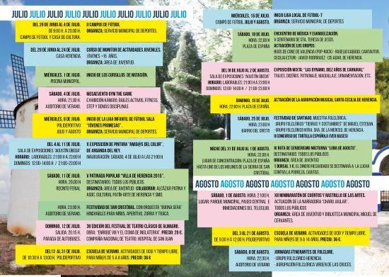 Agenda cultural herencia 2 - De Julio a Septiembre, refrescantes sesiones culturales en Herencia