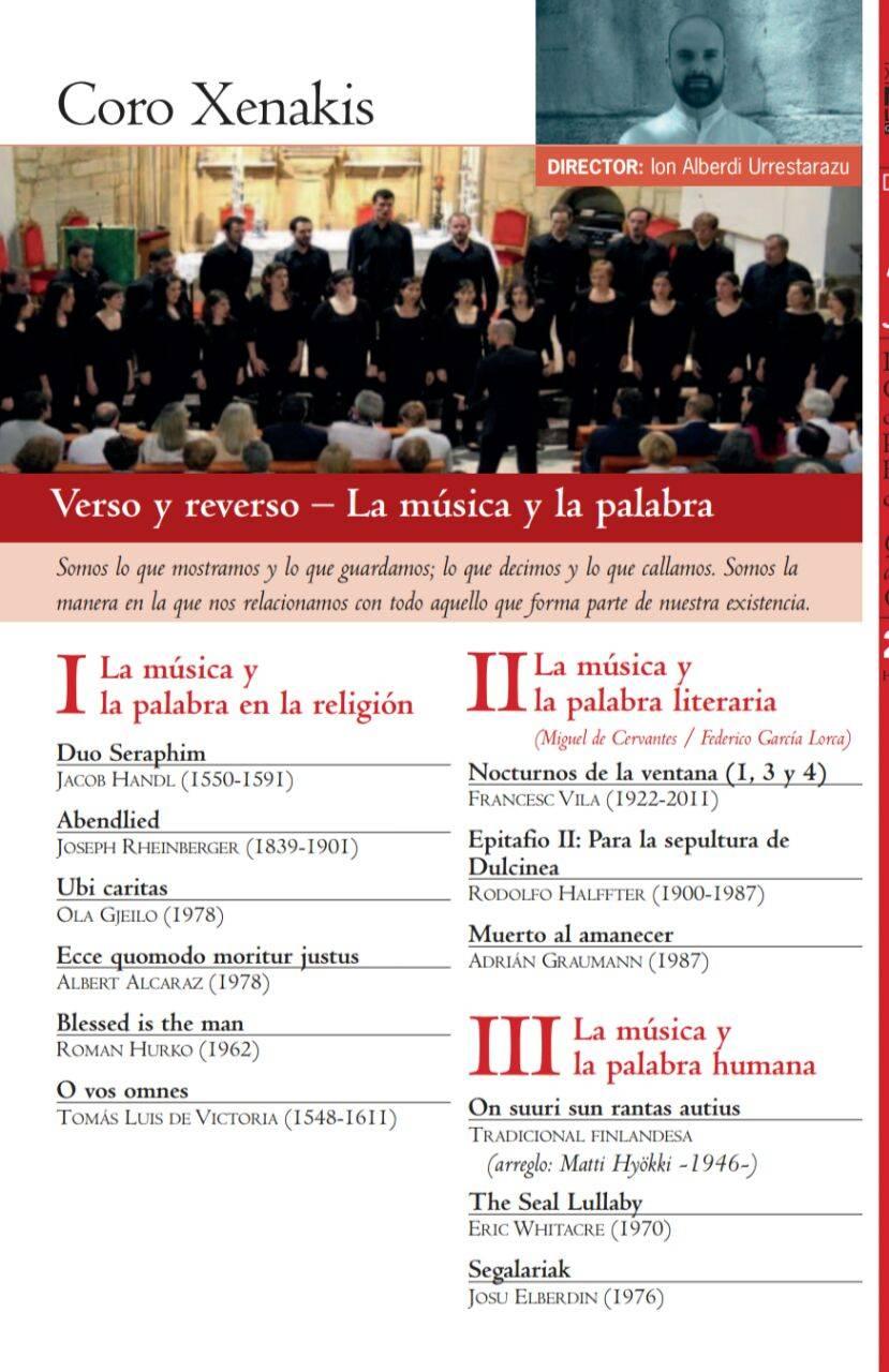 Coro Xenakis Verso y reverso La m%C3%BAsica y la palabra - Germán López-Sepúlveda participa en el XXII Festival Internacional de Música La Mancha