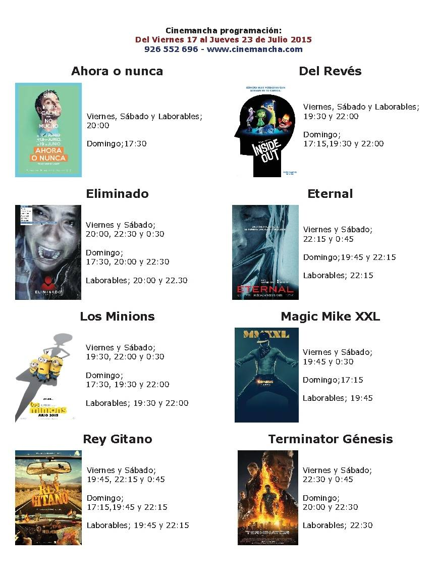 Cartelera Cinemancha: Del 17 al 23 de Julio 1