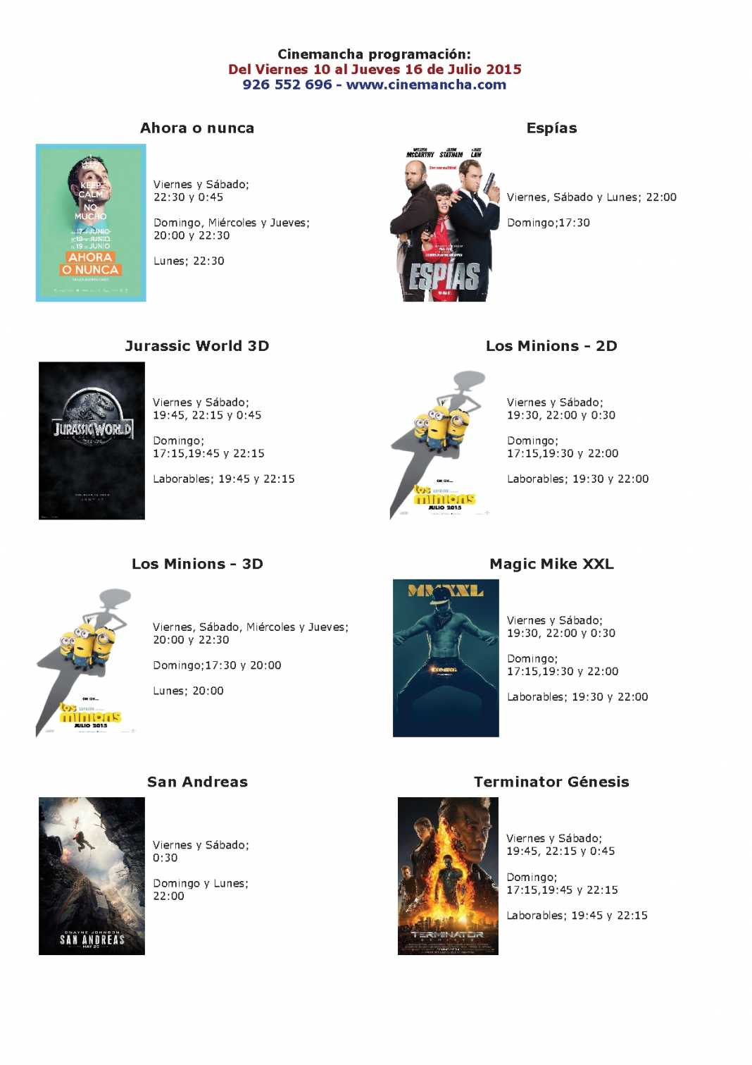 cartelera de multicines cinemancha del 10 al 16 de julio 1068x1511 - Cinemancha cartelera: Del 10 al 16 de Julio 2015