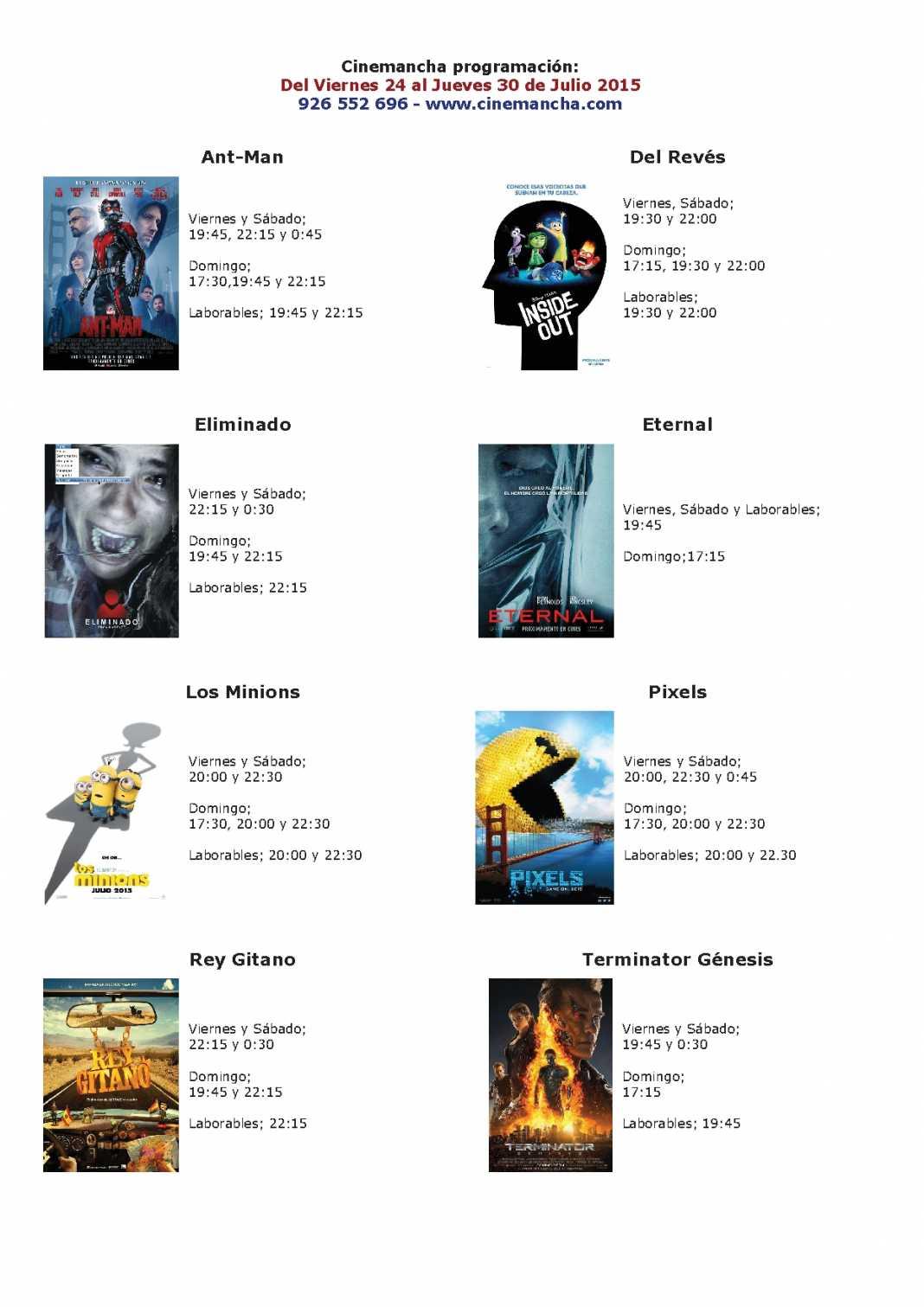 Cartelera Cinemancha del 24 al 30 de julio 1