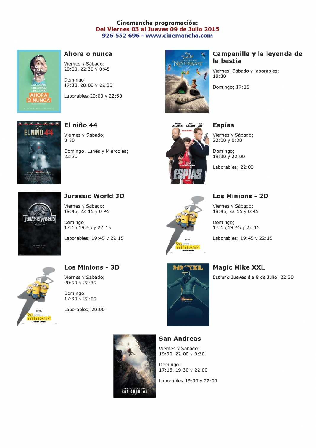 Cartelera Cinemancha del viernes 03 al jueves 09 de julio 1