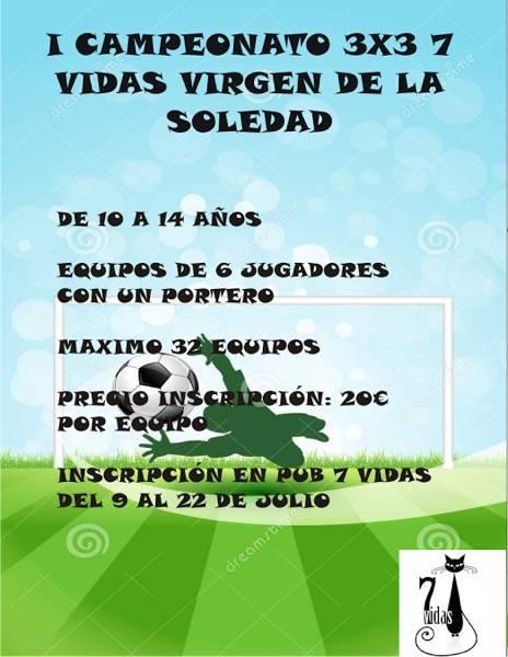 torneo de futbol 3x3 7Vidas Virgen de la Soledad