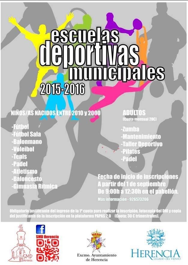 Cartel escuelas deportivas herencia 2015 2016 - Inicio de las inscripciones en las escuelas deportivas de Herencia