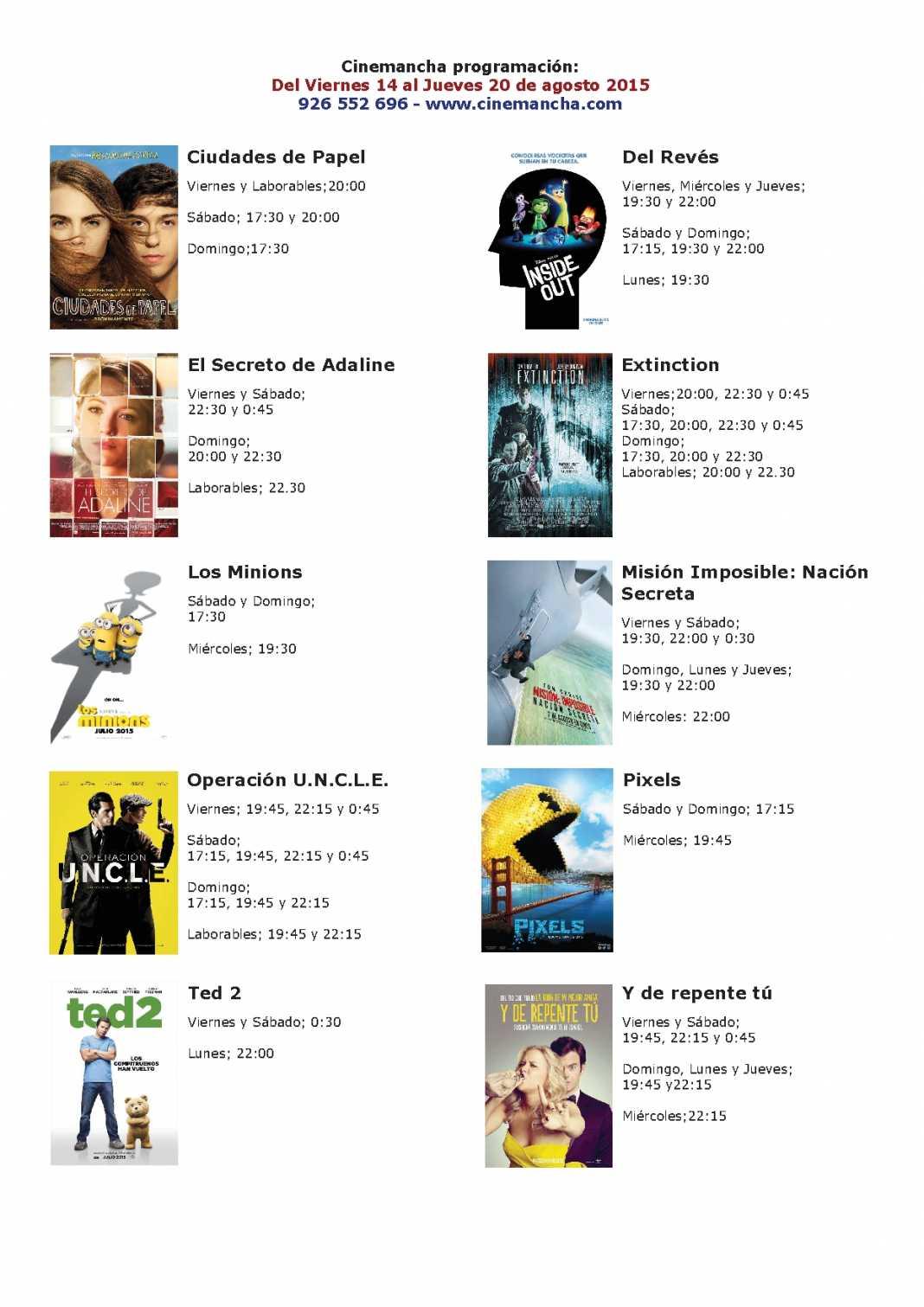 Cartelera Cinemancha 1