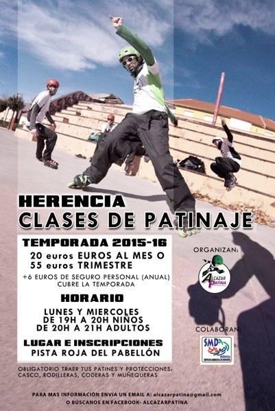 Cartel clases de patinaje en Herencia 2015 2016jpg - Clases de patinaje en Herencia para la temporada 2015-2016