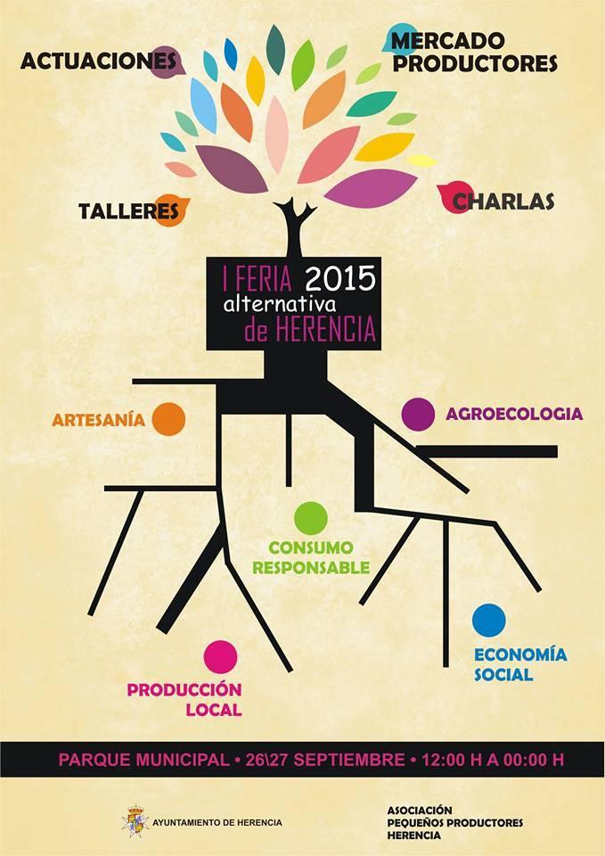 I Feria Alternativa de Herencia cartel - Programación de actos para el último día de la feria y fiestas