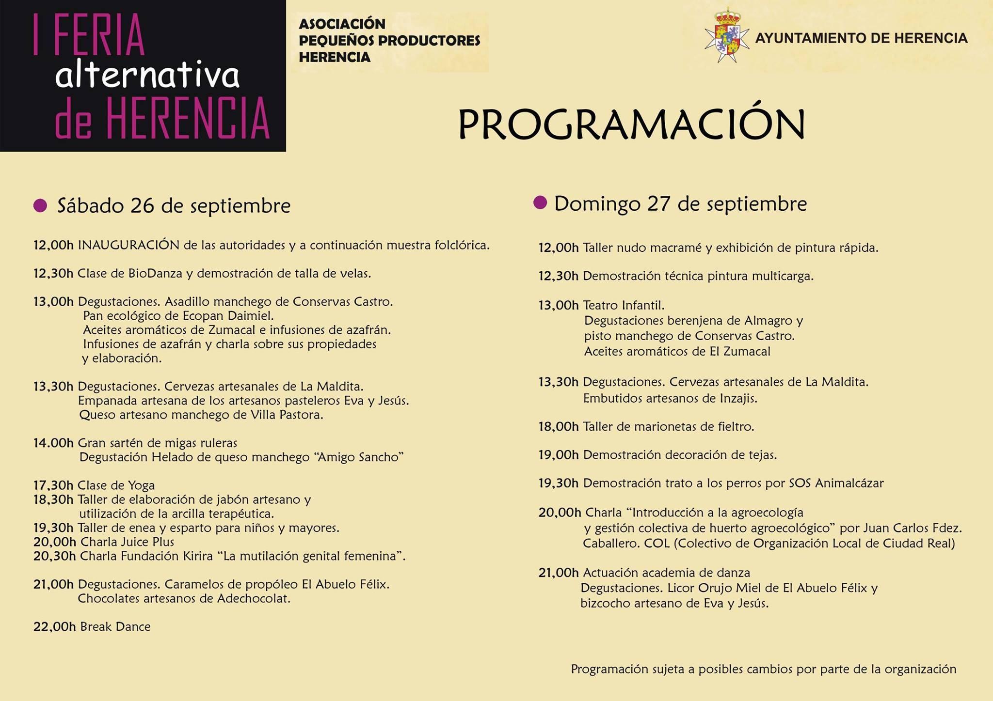 I Feria Alternativa de Herencia programacion - Primera feria alternativa de Herencia
