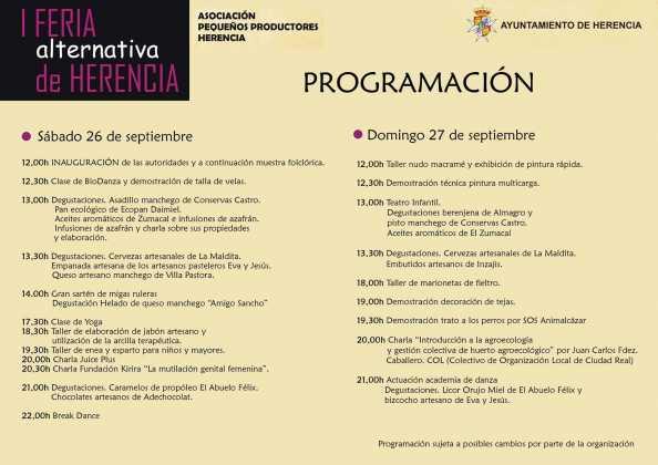 I Feria Alternativa de Herencia programacion1 594x420 - Feria y Fiestas de Herencia en imágenes