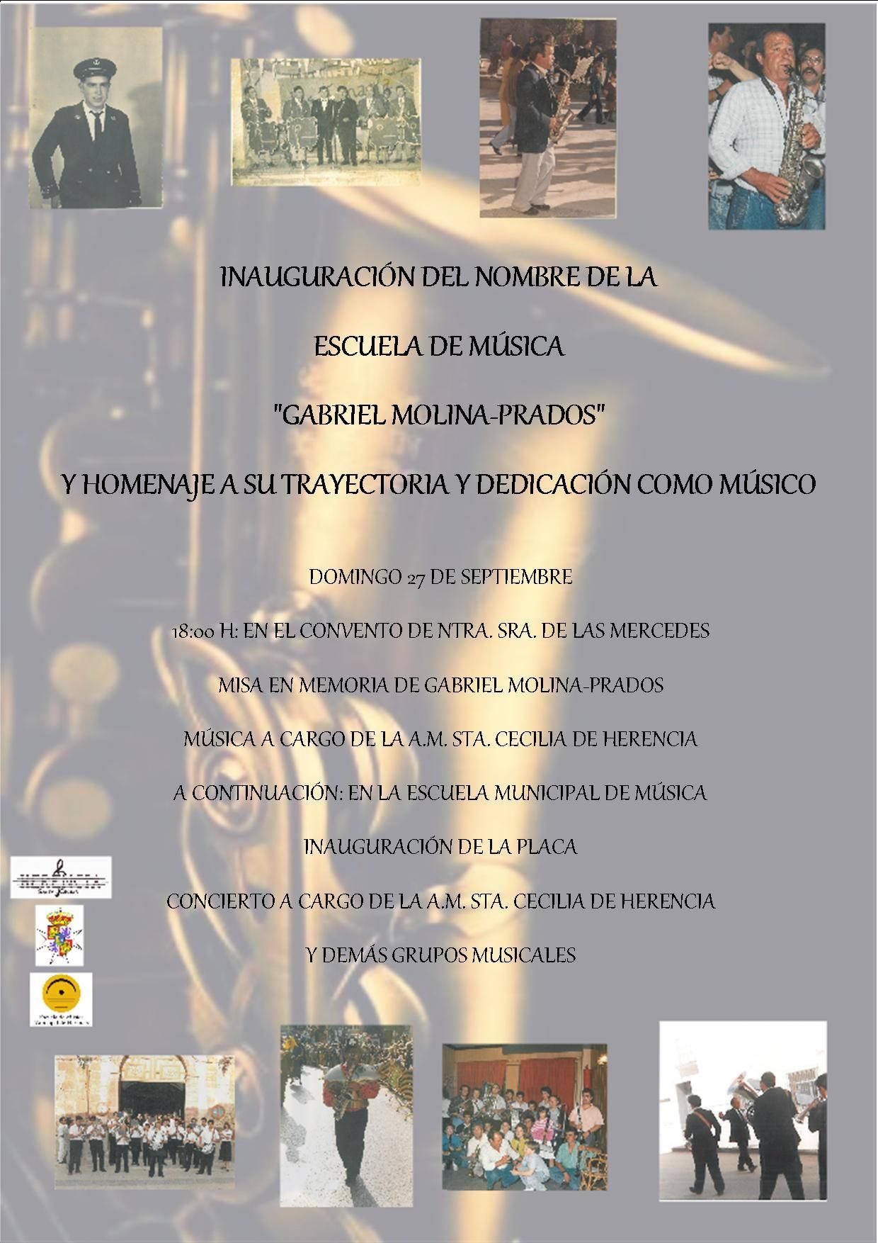 Inauguraci%C3%B3n del nombre de la escuela de m%C3%BAsica de Herencia - Programación de actos para el último día de la feria y fiestas