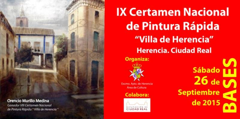 Portada de las Bases del IX Certamen Nacional de Pintura Rapida de Herencia - Bases del IX Certamen Nacional de Pintura Rápida de Herencia