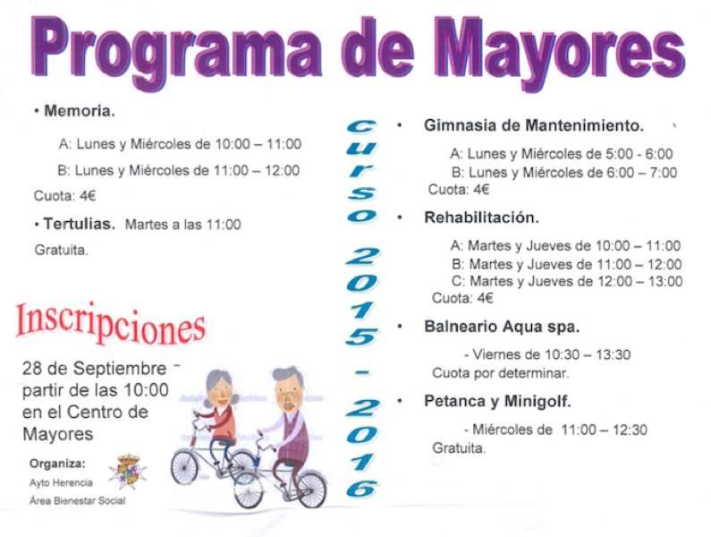 Programa de mayores del ayuntamiento de Herencia 2015-2016