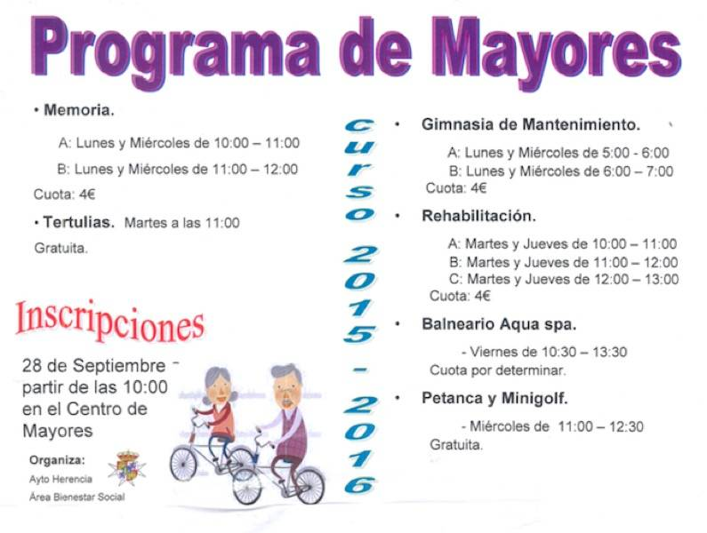 Programa de mayores del ayuntamiento de Herencia 2015 2016 - Programa de actividades para mayores en Herencia