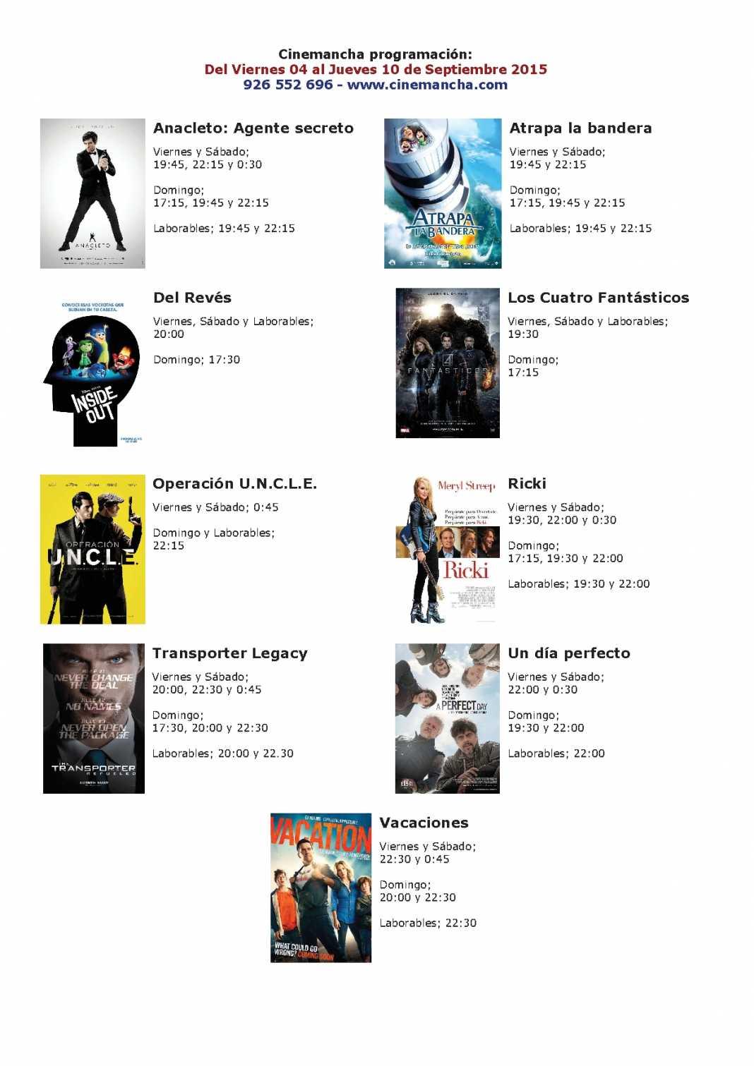 Cartelera Cinemancha del 04 al 10 de septiembre 1