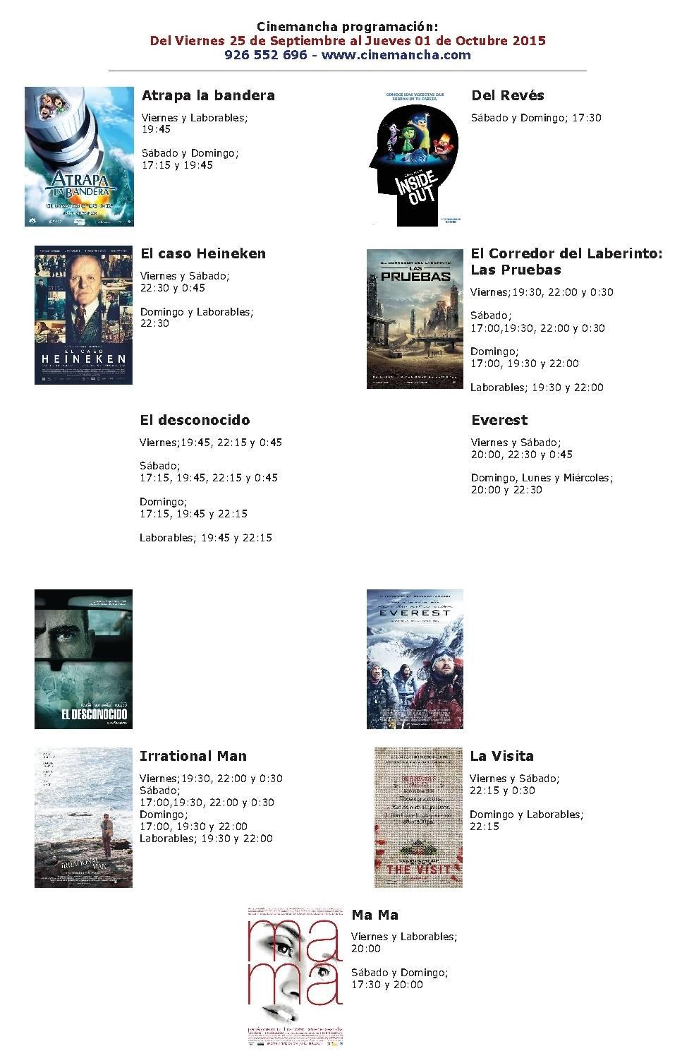 Cartelera Cinemancha del 25 al 1 de octubre 1