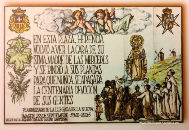 mural de los 75 ac3b1os de la llegada de la nueva imagen de la virgen de la merced a herencia 610x420 - Feria y Fiestas de Herencia en imágenes