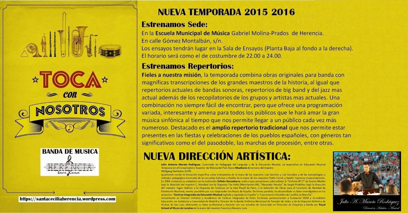 "Agrupacion musical Santa Cecilia de Herencia - Novedades en la agrupación musical ""Santa Cecilia"""