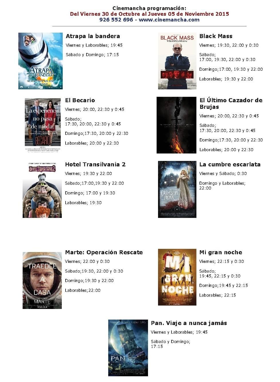 CARTELERA DE CINEMANCHA DEL 30 10 AL 05 11 - Cinemancha programación: Del Viernes 30 al 5 de Noviembre