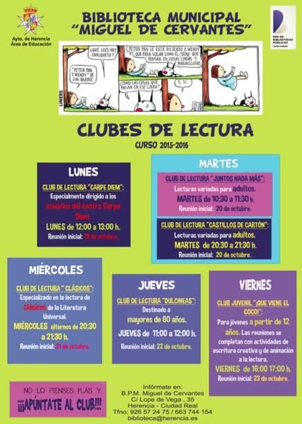 Cartel Clubes de Lectura de la biblioteca municipal de Herencia - La biblioteca prepara sus clubes de lectura