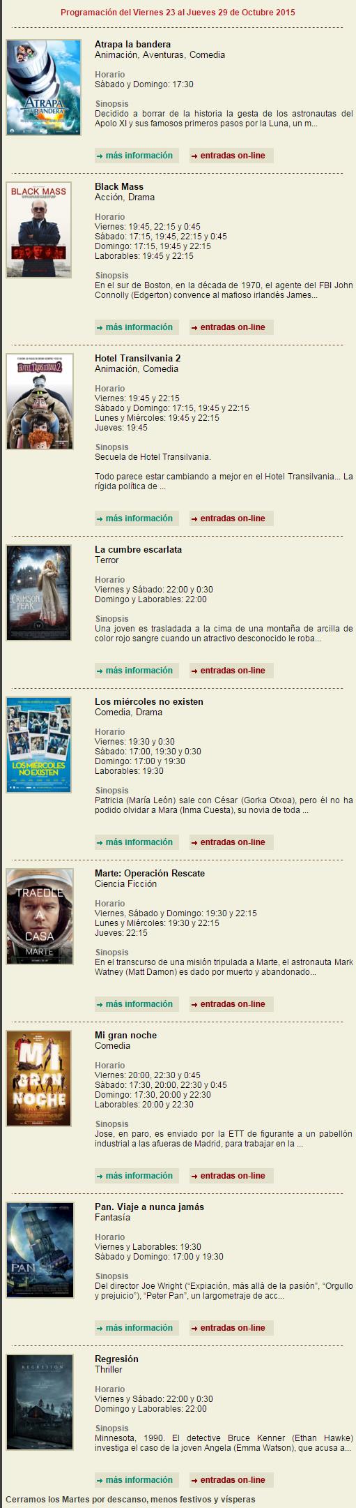 Cinemancha.com Multicines Cinemancha Alcázar de San Juan - Programación Cinemancha del Viernes 23 al Jueves 29 de Octubre 2015