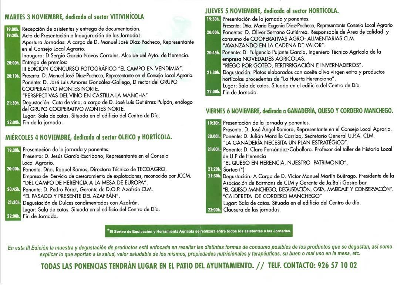 Programa de las III Jornadas de Agricultura y Ganadería de Herencia