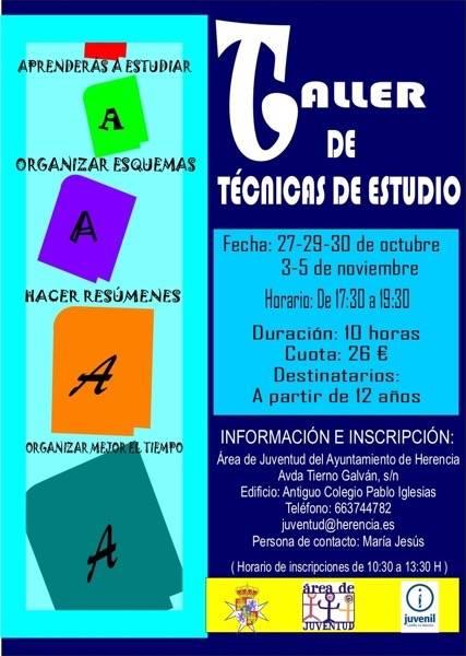 Cartel del taller de técnicas de estudio del área de Juventud de Herencia