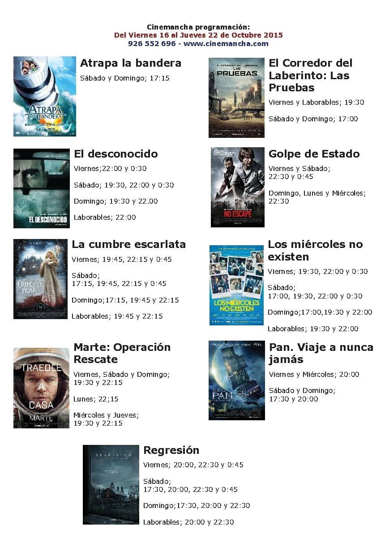 Cartelera Cinemancha del 16 al 22 de octubre 1