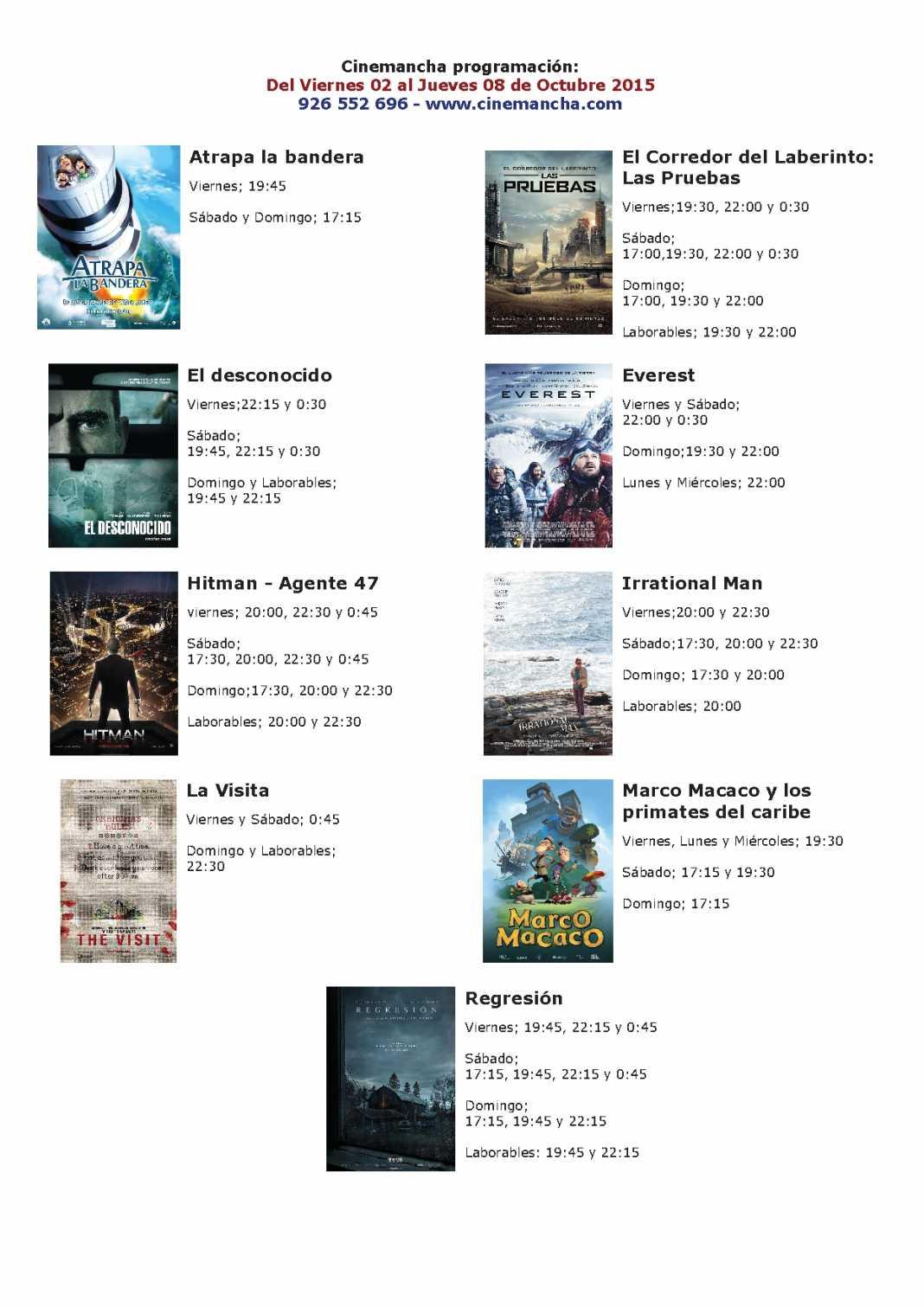 Cartelera Cinemancha del 2 al 8 de octubre 1