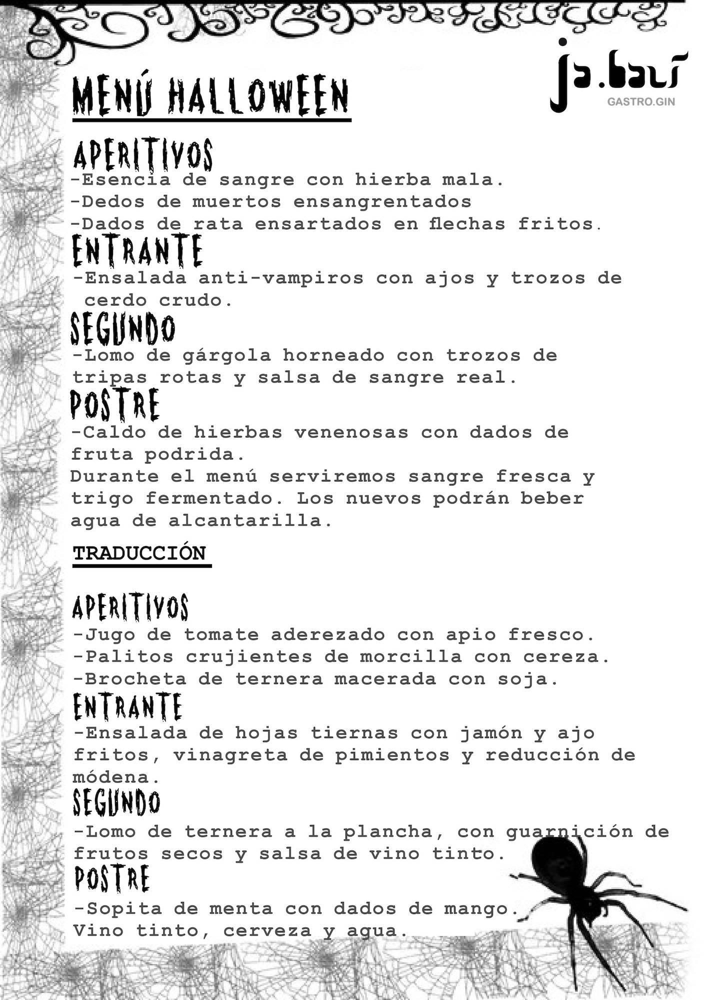 menu cenas de halloween jabali gastrogin - Noche de Halloween en Jabalí Gastro el día 31 octubre