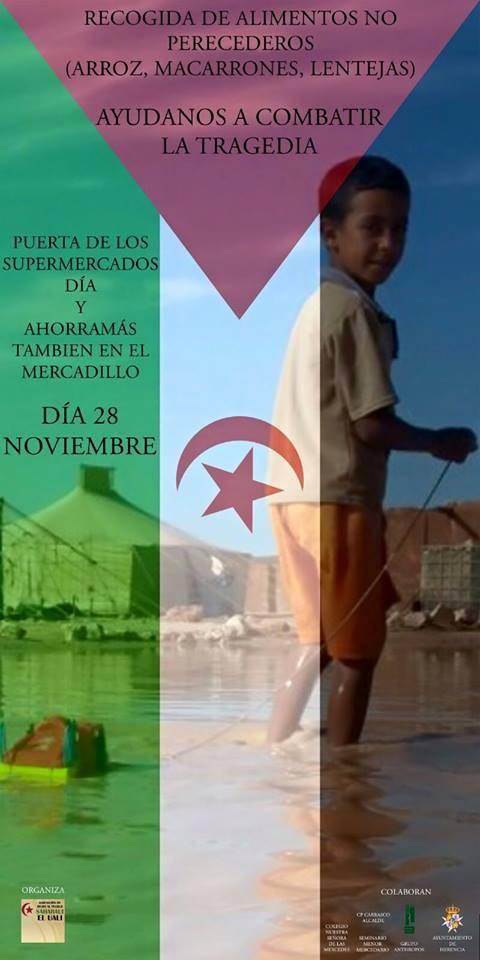 Cartel recogida de alimentos en favor de los campamentos de refugiados saharauis - Campaña de recogida de alimentos para el pueblo saharaui
