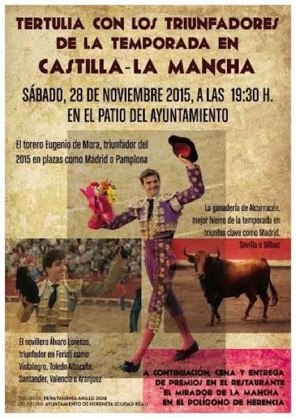 Cartel tertulia toros en Herencia - Tertulia sobre toros en Herencia con los mejores de Castilla- La Mancha en 2015