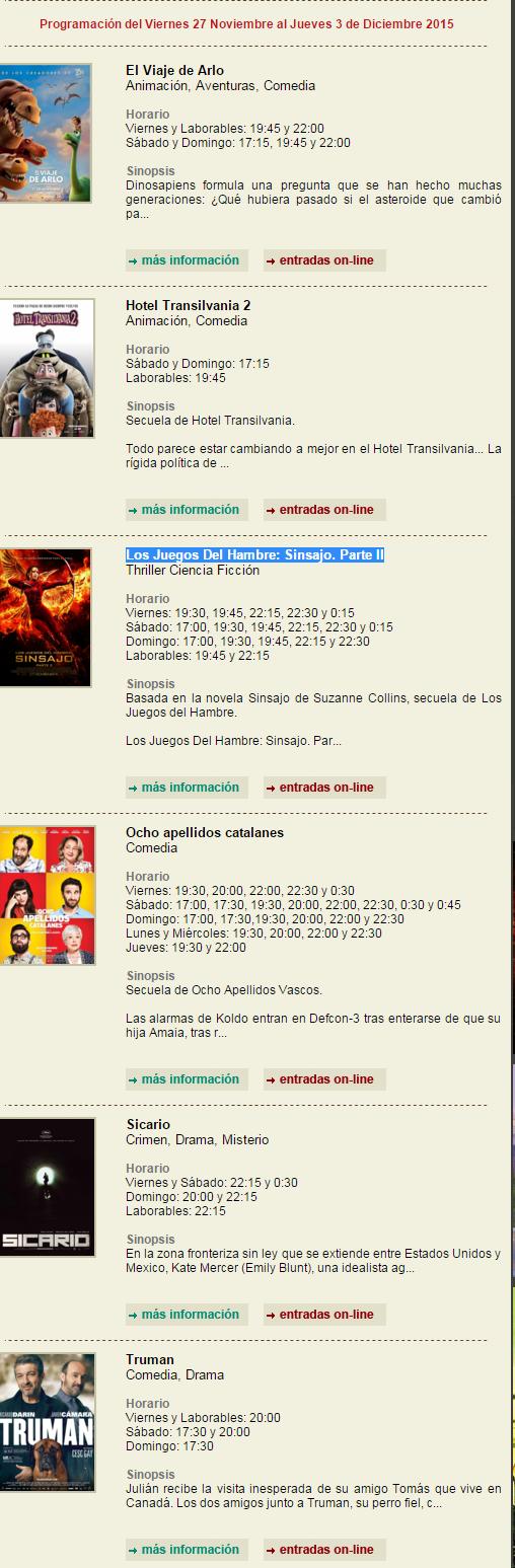 Cartelera Cinemancha del Viernes 27 Nov al Jueves 3 de Dic 1