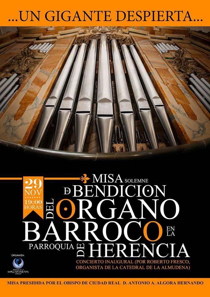 El órgano barroco de Herencia volverá a sonar el 29 de noviembre 1