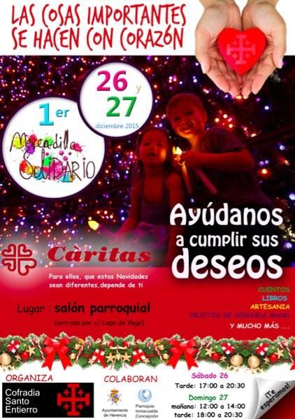 Cartel mercadillo solidario Cofradía del Santo Entierro de Herencia