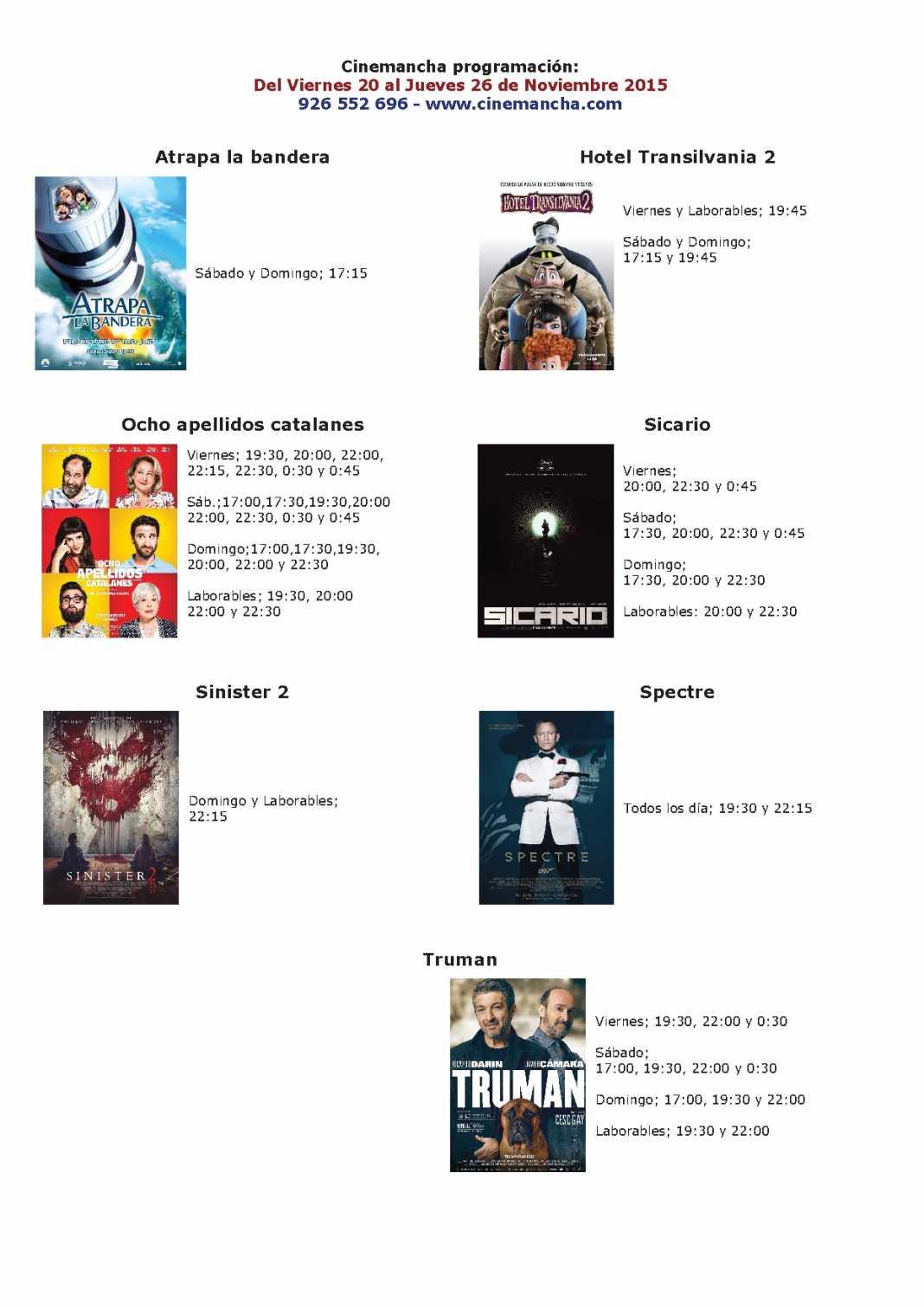 Programación Cinemancha del 20 al 26 de noviembre 1