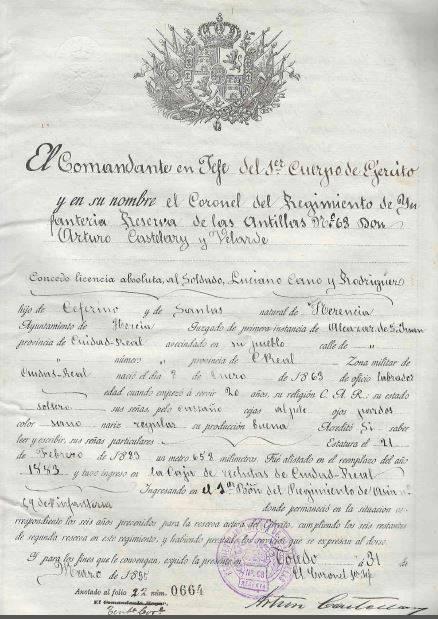 """licencia luciano - La """"mili"""" a finales del siglo XIX"""