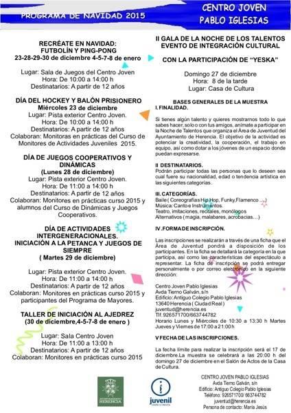 Actividades Juventud Navidad Herencia 2015 - Todo preparado para celebrar la II Noche de los Talentos de Herencia