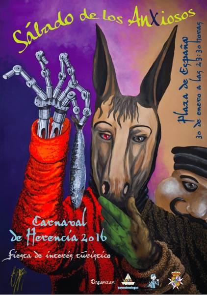 Cartel Carnaval de Herencia Sabado de los Ansiosos 2016 - El cartel del X Sábado de los Ansiosos, un homenaje al arte y al carnaval de antaño