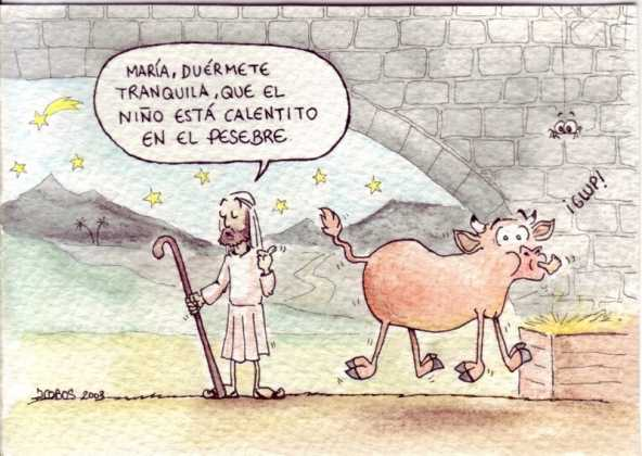 Buey trag%C3%B3n 592x420 - Postales navideñas de Jesús Cobos Abengoza