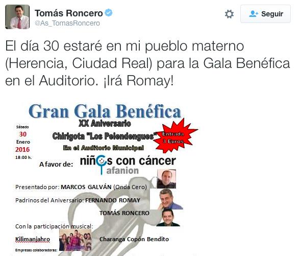 Twitter Tom%C3%A1s Roncero - Romay, Marcos Galván y Tomás Roncero en la Gala XX Aniversario de Los Pelendengues