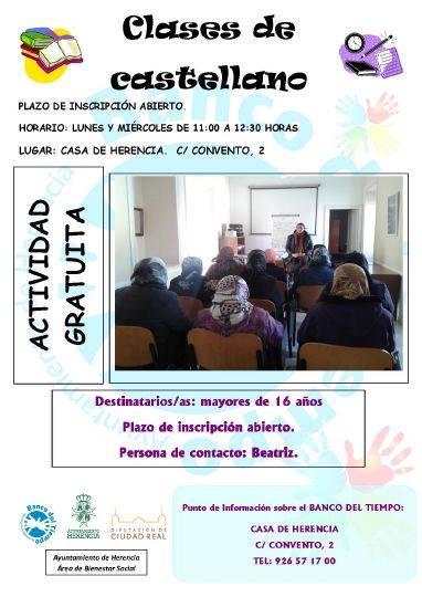 cartel clases castellano banco del tiempo herencia 2016 - El Banco del Tiempo vuelve a funcionar en Herencia