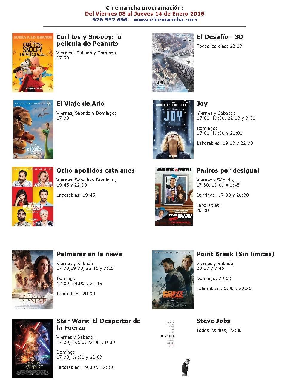 Cartelera de Cinemancha del 8 al 14 de enero 1